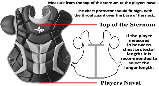 catcher chest protector size chart